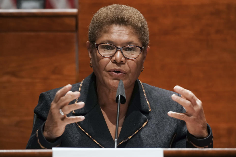 FILE - In this June 17, 2020, file photo, Rep. Karen Bass, D-Calif., speaks on Capitol Hill in Washington. Bass, a prominent figure in national Democratic politics who was on President Joe Biden's shortlist of candidates when he was considering a vice presidential pick, is planning to run for Los Angeles mayor, a person familiar with her plans said Friday, Sept. 24, 2021. (Greg Nash/Pool Photo via AP, File)