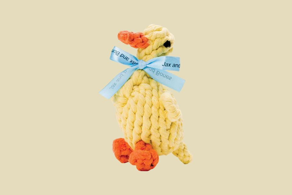 """<p>This charming duck is hand-tied and dyed using non-toxic vegetable dyes. With every purchase of a Good Karma toy such as this one, Jax & Bones will donate 10 percent of the proceeds to rescue and animal welfare groups to help these animals find a forever home.</p> <p><strong><em>Shop Now: </em></strong><em>Jax & Bones Daisy the Duck Rope Toy, $16, </em><a href=""""https://jaxandbones.com/collections/good-karma-rope-dog-toys/products/daisy-the-duck-rope-dog-toy"""" rel=""""nofollow noopener"""" target=""""_blank"""" data-ylk=""""slk:jaxandbones.com"""" class=""""link rapid-noclick-resp""""><em>jaxandbones.com</em></a><em>.</em></p>"""
