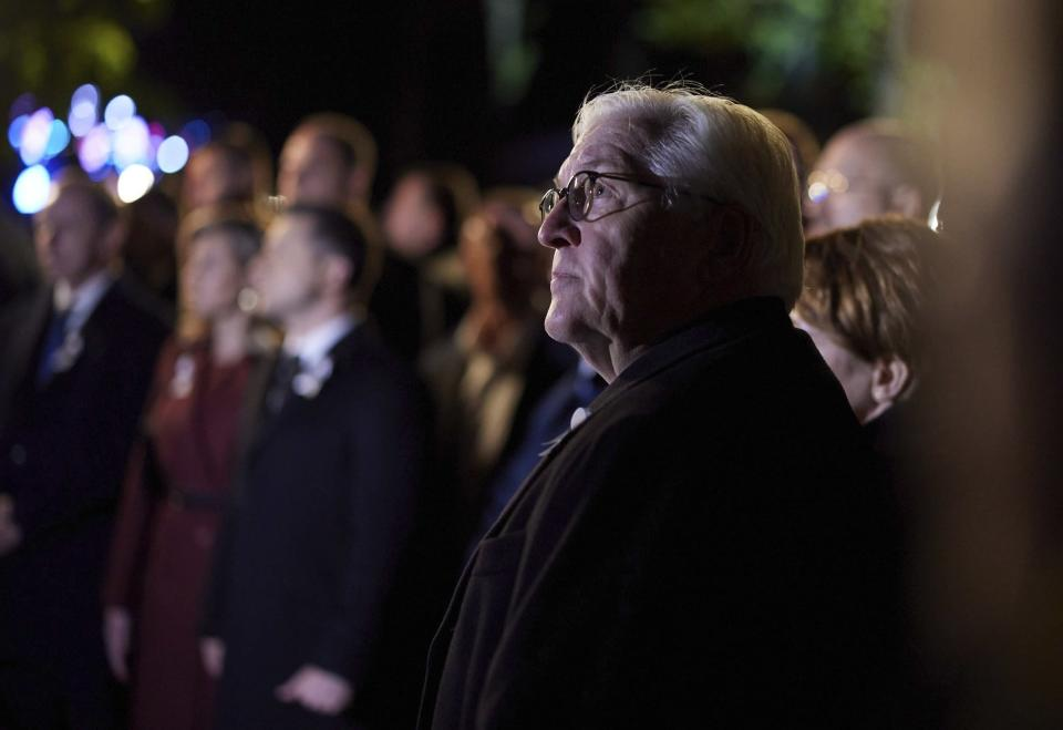 Germany's Federal President Frank-Walter Steinmeier attends commemorative events marking the 80th anniversary of the Babi Yar massacre of Kyiv Jews perpetrated by German occupying forces in 1941 in Kyiv, Ukraine, Wednesday, Oct. 6, 2021. (Ukrainian Presidential Press Office via AP)