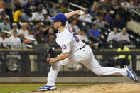New York Mets pitcher Trevor May delivers during the seventh inning of the team's baseball game against the Atlanta Braves, Wednesday, July 28, 2021, in New York. (AP Photo/Mary Altaffer)