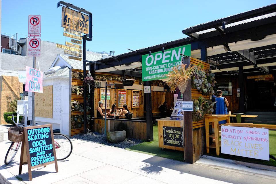 VENICE, CALIFORNIA - JUNE 06: As part of Phase 3 of reopening California, many restaurants are now open with dine-in options available (Photo by Amanda Edwards/Getty Images)