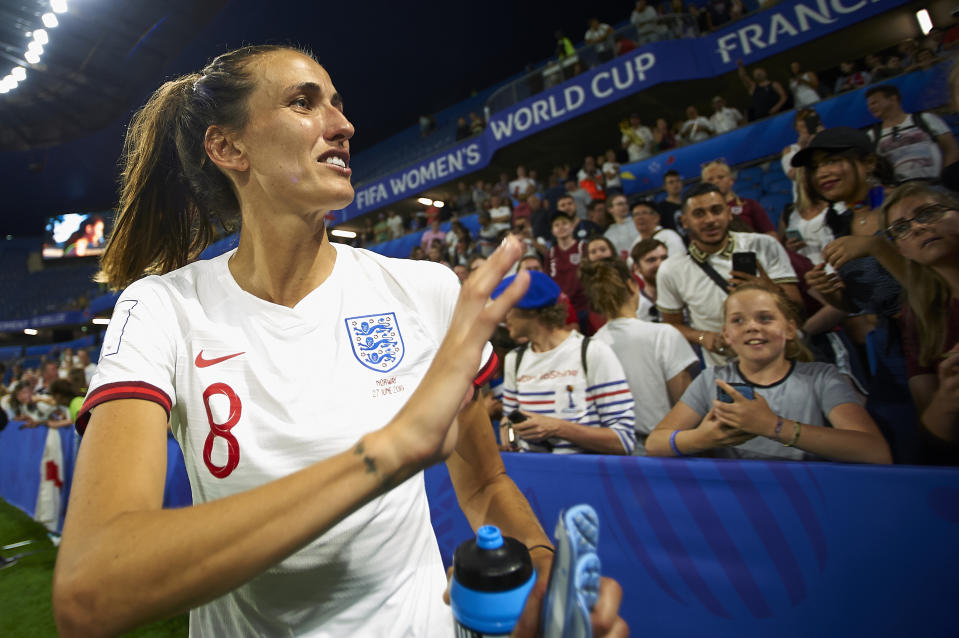 Jill Scott (Manchester City WFC) of England celebrates victory after whit her fans the 2019 FIFA Women's World Cup France Quarter Final match between Norway and England at  on June 27, 2019 in Le Havre, France. (Photo by Jose Breton/NurPhoto via Getty Images)
