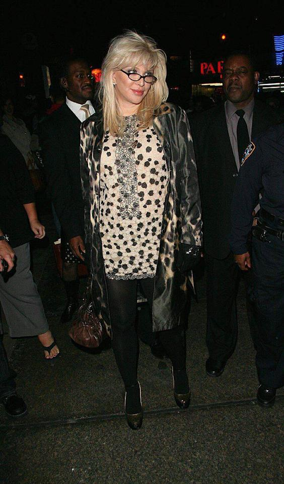 """Rocker Courtney Love looks like a Beverly Hills housewife on her way to book club. We love the specs, but everything else has got to go! Richie Buxo/<a href=""""http://www.splashnewsonline.com"""" target=""""new"""">Splash News</a> - October 31, 2007"""