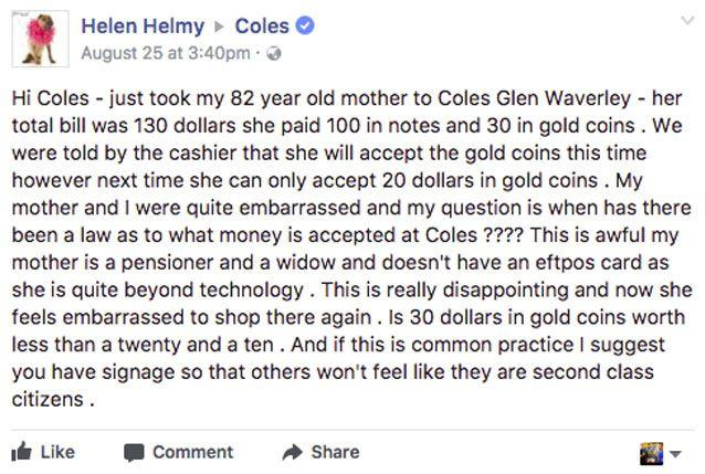 Ms Garvey said her mother was left embarrassed by the exchange. Source: Facebook