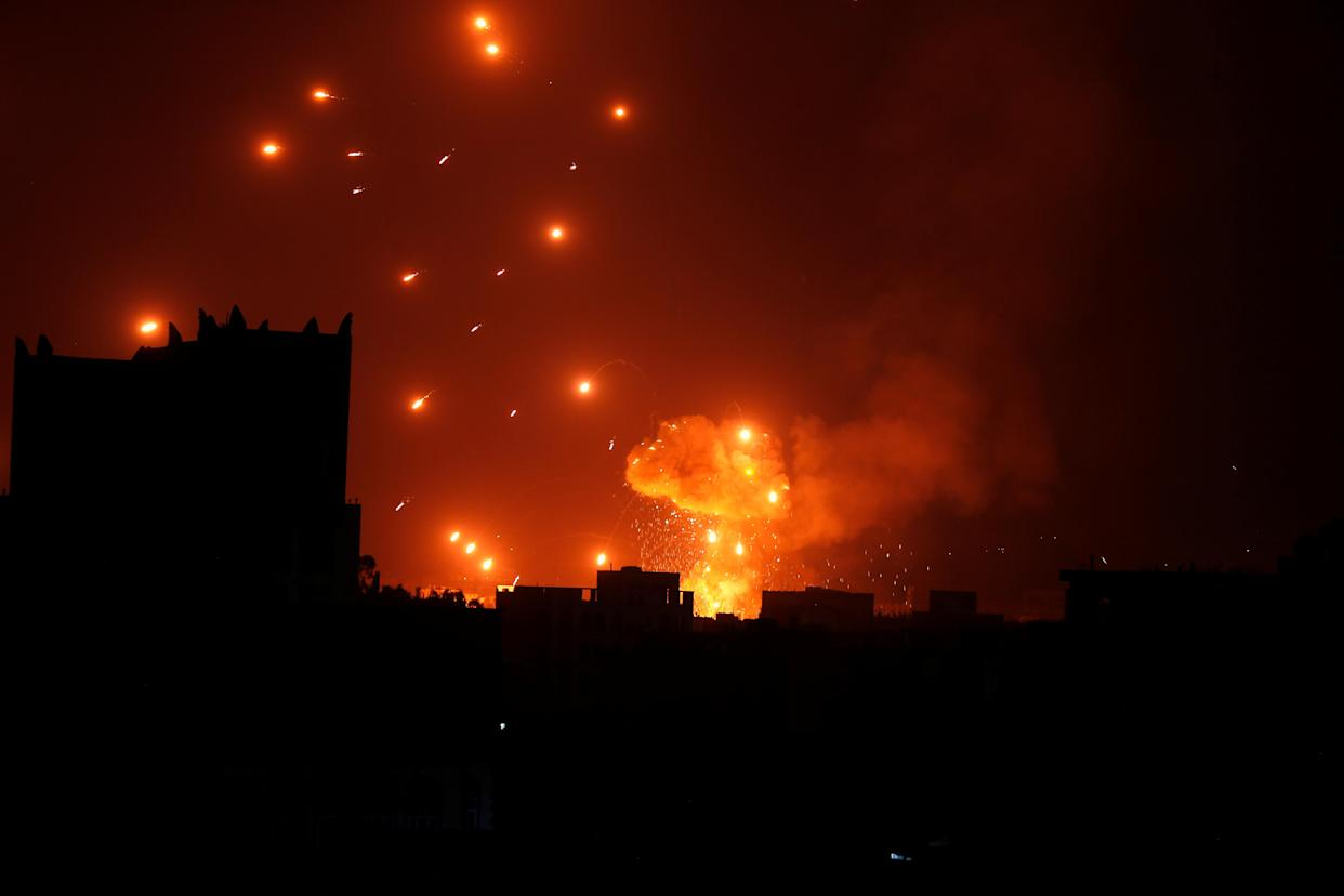 A Houthi arms depot explodes after it was hit by air strikes, Sanaa, Yemen, Jan. 31, 2018. (Photo: Khaled Abdullah/Reuters)