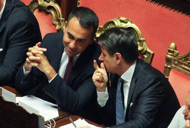 Rome Italy 10September 2019 :Italys Prime Minister Giuseppe Conte (R) speech with Italys Foreign Minister Luigi Di Maio after Conte delivered a speech during the new governments confidence vote on September 10, 2019 at the Senate in Rome- PHOTOGRAPH BY Marco Ravagli / Barcroft Media (Photo credit should read Marco Ravagli / Barcroft Media / Barcroft Media via Getty Images)