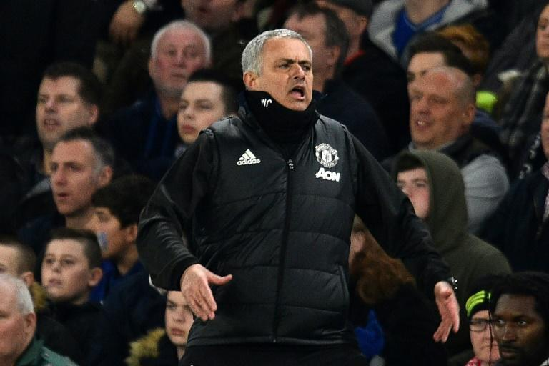 Manchester United's manager Jose Mourinho gestures on the touchline during their English FA Cup quarter-final match against Chelsea, at Stamford Bridge in London, on March 13, 2017
