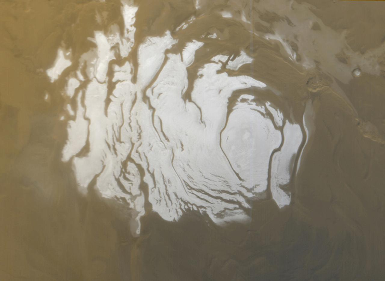 <p>The south polar cap of Mars as it appeared to the Mars Global Surveyor (MGS) Mars Orbiter Camera (MOC) on April 17, 2000. (Photo: NASA/Handout via Reuters) </p>