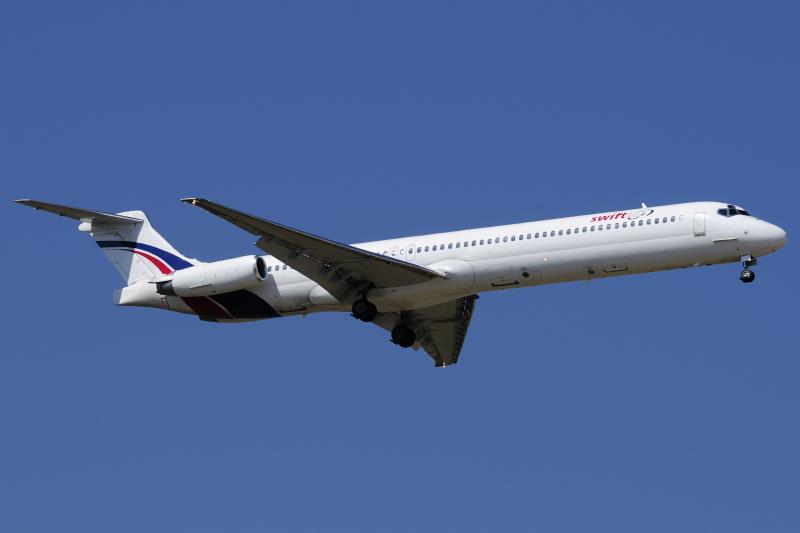 A Swiftair MD-83 airplane is seen in this undated photo