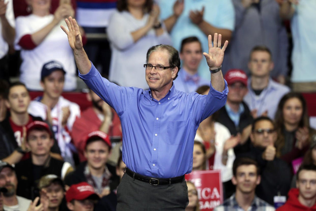 Mike Braun at a campaign rally that featured President Trump in Fort Wayne, Ind., on Nov. 5, 2018. (Photo: Michael Conroy/AP)