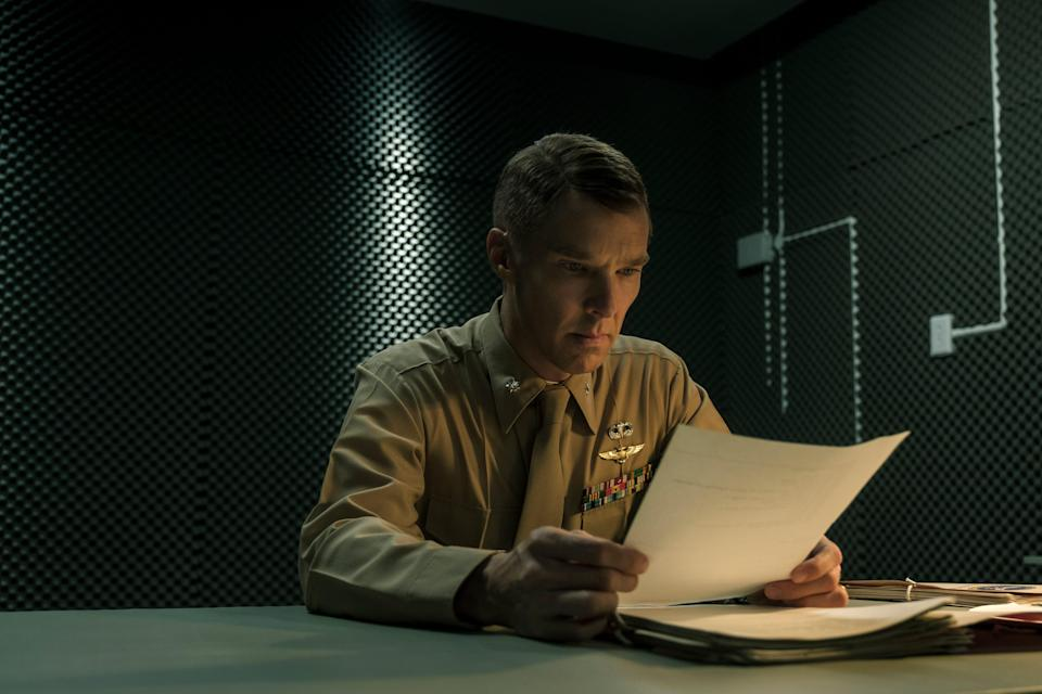 """Benedict Cumberbatch portrays a Marine lawyer prosecuting a Guantanamo detainee in """"The Mauritanian."""""""