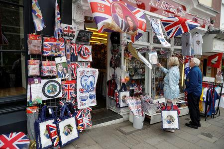 People browse for Royal Wedding souvenirs ahead of Prince Harry and Meghan Markle's wedding in Windsor