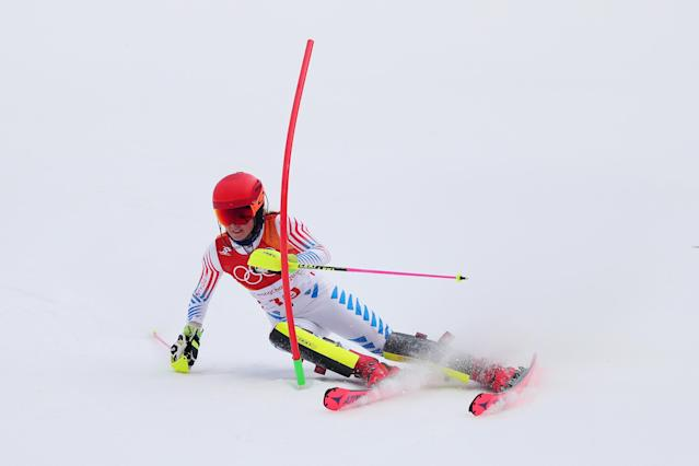 <p>Mikaela Shiffrin of the United States competes during the Ladies' Alpine Combined on day thirteen of the PyeongChang 2018 Winter Olympic Games at Yongpyong Alpine Centre on February 22, 2018 in Pyeongchang-gun, South Korea. (Photo by Tom Pennington/Getty Images) </p>