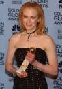 With her Golden Globe for best Actress in a motion picture for her role in Moulin Rouge, 2002