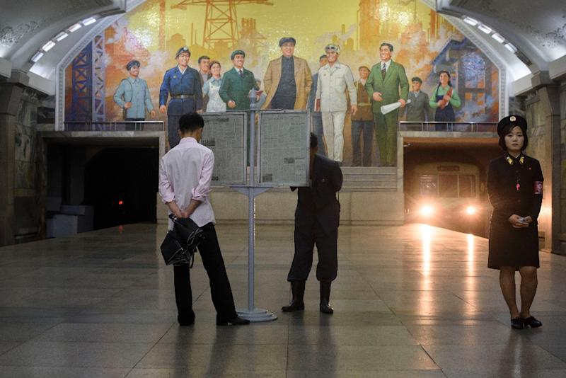 Pyongyang's metro system is one of the deepest in the world, intended for use as a shelter in the event of nuclear war (AFP Photo/Ed JONES)