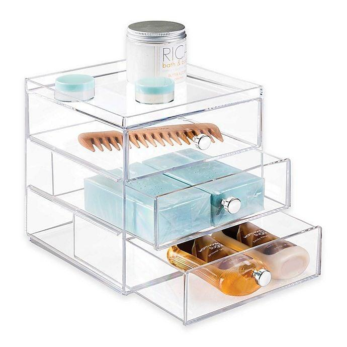 <p>This <span>iDesign Luci 3-Drawer Organizer</span> ($20) would look good on your bathroom countertop.</p>