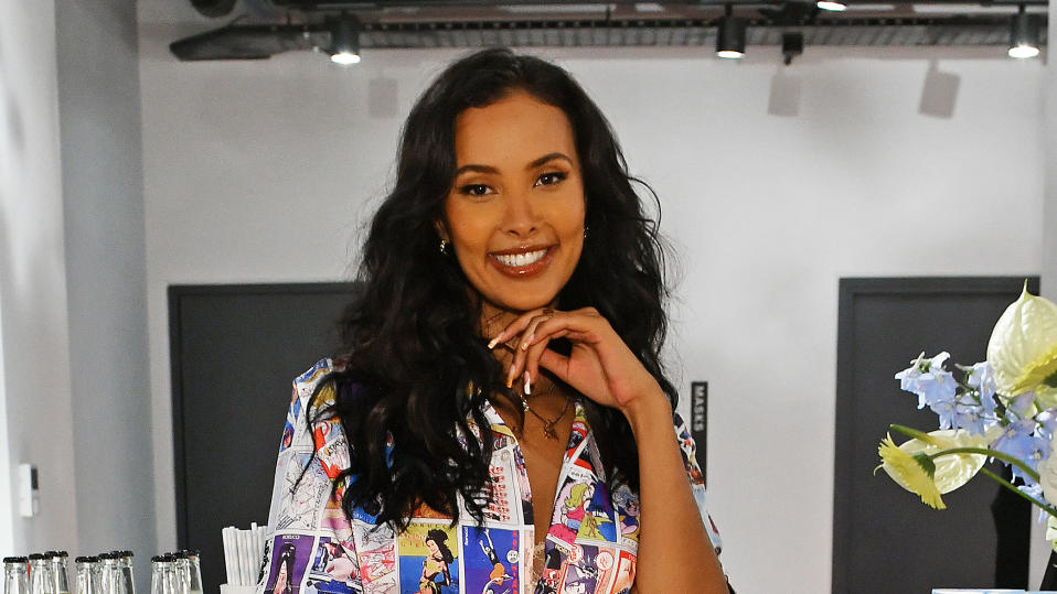 Maya Jama found herself on a FaceTime call with an English football fan on holiday in Greece. (David M. Benett/Getty Images)
