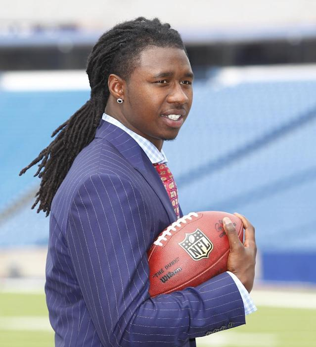 Buffalo Bills first round draft pick Sammy Watkins poses for photos at Ralph Wilson Stadium in Orchard Park, N.Y., Friday, May 9, 2014. (AP Photo/Bill Wippert)