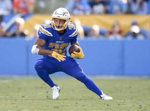 """<a class=""""link rapid-noclick-resp"""" href=""""/nfl/players/30423/"""" data-ylk=""""slk:Austin Ekeler"""">Austin Ekeler</a> had a greater-than-expected role in opening week, could emerge as a flex-worthy fantasy option. (AP Photo/Kelvin Kuo)"""