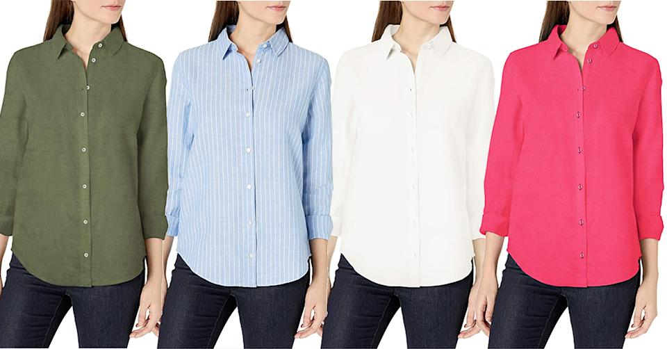 Relaxed Fit Long-Sleeve Linen Shirt is available in 11 different colours. (Amazon