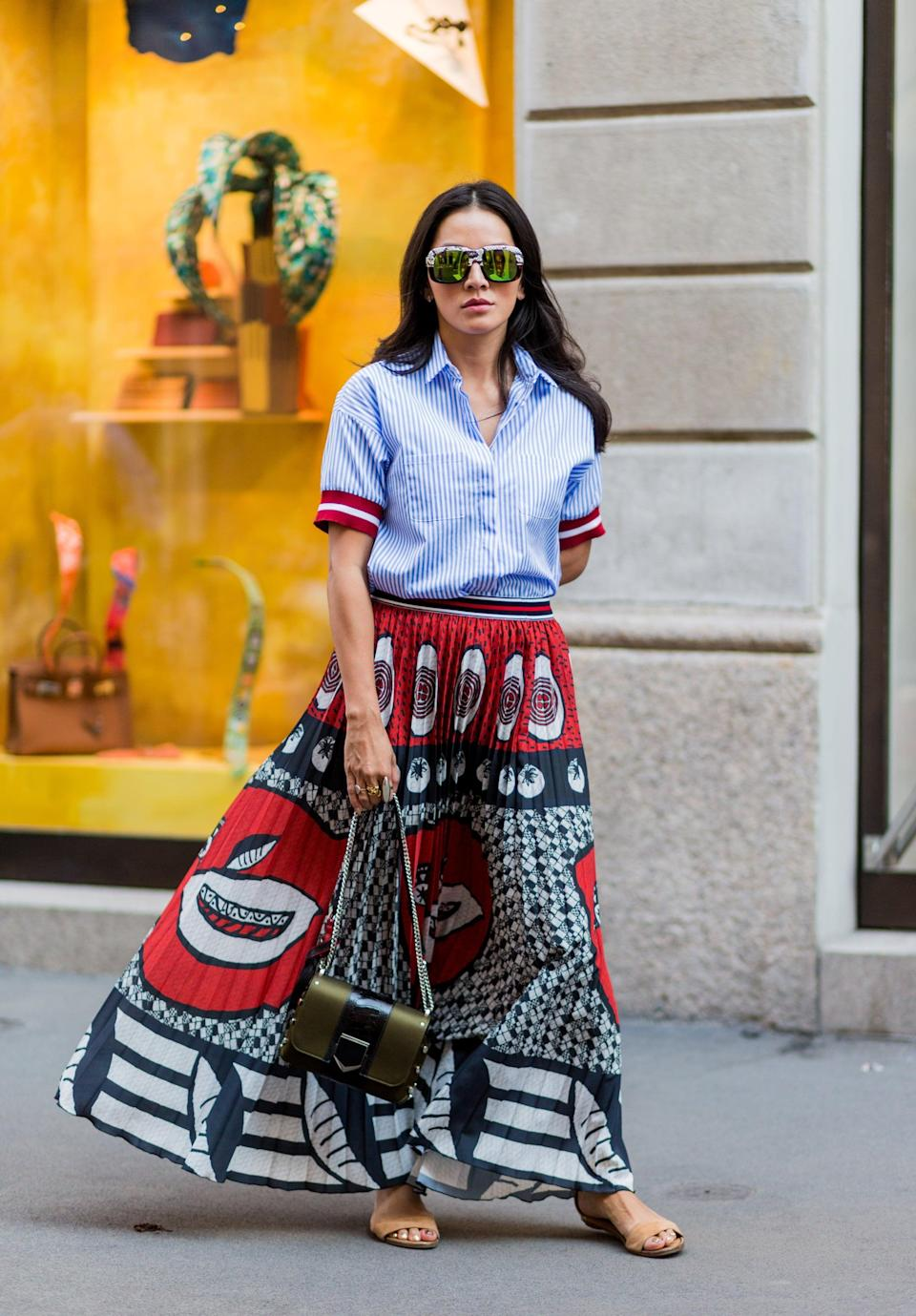 <p>Dress down a bold print with a basic button-down, and wear it everywhere. </p>