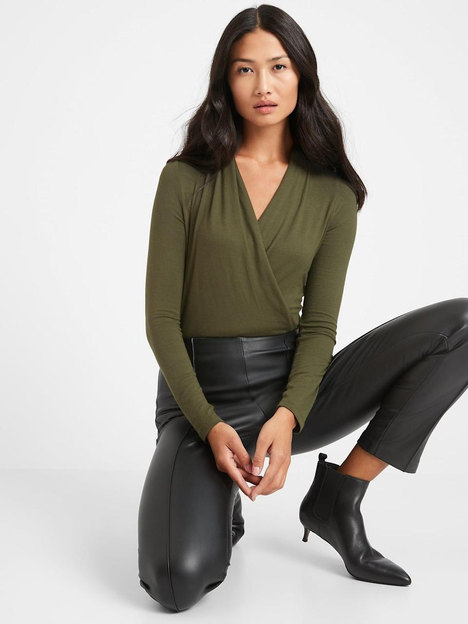 <p>This <span>Banana Republic Threadsoft Wrap Top</span> ($29, originally $50) is super comfortable and soft!</p>