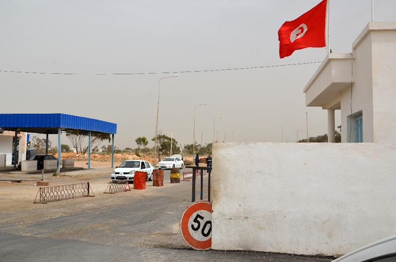 A view of the Tunisian customs post at the Ras Jedir border crossing with Libya in 2016