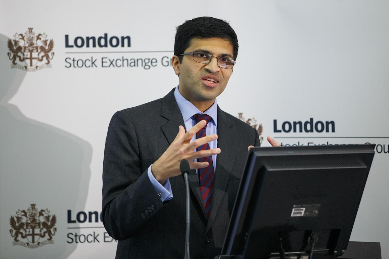 LONDON, UNITED KINGDOM - SEPTEMBER 11: Nikhil Rathi makes a presentation following the opening the market and launch of London Stock Exhchange and Borsa Istanbul's agreement to trade futures and options based on Turkey's blue-chip BIST 30 Index at the London Stock Exchange on September 11, 2015 in London, England. (Photo by Tolga Akmen/Anadolu Agency/Getty Images)