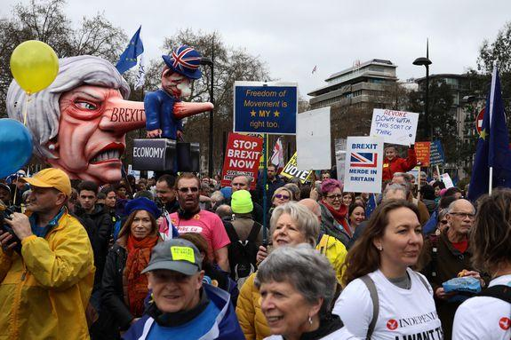 The protesters were not kind to May.
