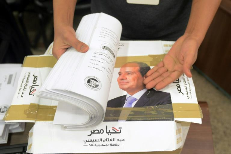Campaign staff of President Abdel Fattah al-Sisi, who has ruled Egypt with an iron fist since being elected in 2014, check boxes containing signatures needed to register for the March 26-28 election