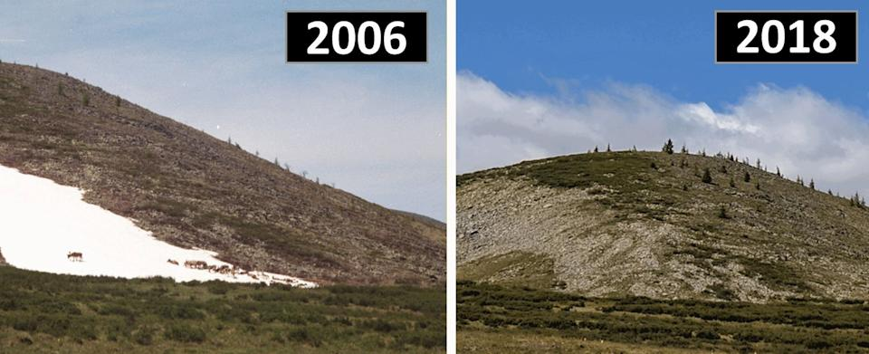 A study has found that ice patches known as 'eternal ice' in Mongolia are melting for the first time. This patch in Mengebulag taken in 2006 was used by reindeer for fresh water and to cool down, but in 2018 had completely melted (Picture: SWNS)
