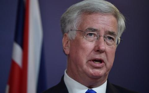 Britain's Defence Minister Michael Fallon speaks during a press conference in Sydney on July 27, 2017 - Credit: PETER PARKS