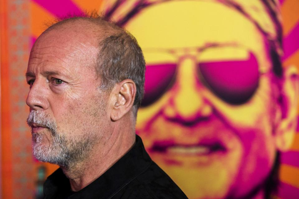 """Cast member Bruce Willis arrives for the premiere of the film """"Rock the Kasbah"""" in New York October 19, 2015. REUTERS/Lucas Jackson"""