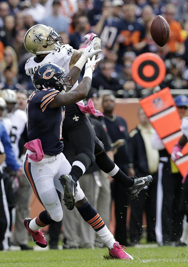 New Orleans Saints strong safety Kenny Vaccaro (32) breaks up a pass intended for Chicago Bears wide receiver Alshon Jeffery (17) during the first half of an NFL football game, Sunday, Oct. 6, 2013, in Chicago.(AP Photo/Nam Y. Huh)