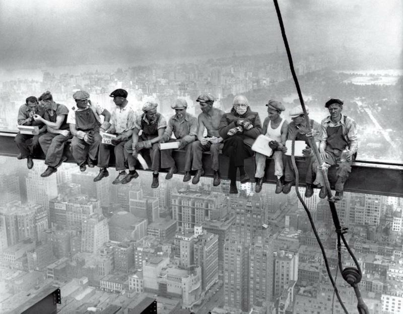 """The iconic """"Lunch Atop a Skyscraper"""" photo by Charles C. Ebbets, taken in 1932 as workers sat on an iron crossbeam high above New York City, got a new addition on Wednesday: Sen. Bernie Sanders of Vermont. It was just one of many memes to feature the lawmaker in his mittens on Inauguration Day."""