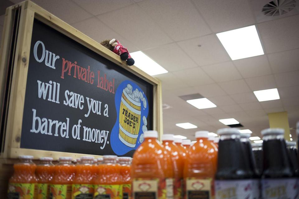 """<p>Almost everything you pick up off of the shelf at Trader Joe's is <a href=""""https://www.thedailymeal.com/eat/10-things-you-didnt-know-about-trader-joes-products-0/slide-4"""" rel=""""nofollow noopener"""" target=""""_blank"""" data-ylk=""""slk:made under the Trader Joe's private label"""" class=""""link rapid-noclick-resp"""">made under the Trader Joe's private label</a>—from coffee creamer to coconut oil. Operating this way helps keep the shelf price down. In 1977, <a href=""""https://www.today.com/food/trader-joe-s-surprising-facts-t115351"""" rel=""""nofollow noopener"""" target=""""_blank"""" data-ylk=""""slk:the company created the sub brands"""" class=""""link rapid-noclick-resp"""">the company created the sub brands</a> Trader Ming's, Trader Jose's, Trader Giotto's, and Pilgrim Joe's for specialty food items. </p>"""