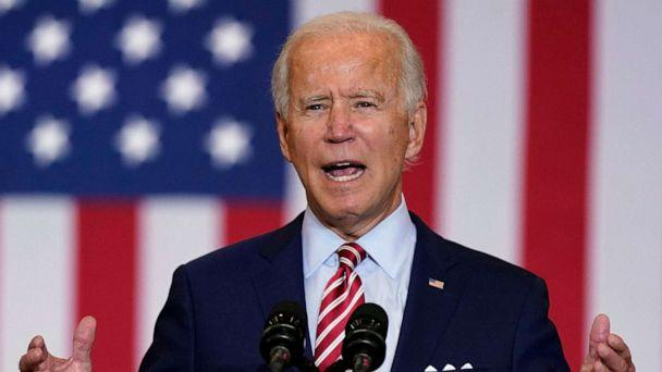 PHOTO: Democratic presidential candidate former Vice President Joe Biden speaks during a Hispanic Heritage Month event, Sept. 15, 2020, at Osceola Heritage Park in Kissimmee, Fla. (Patrick Semansky/AP, FILE)