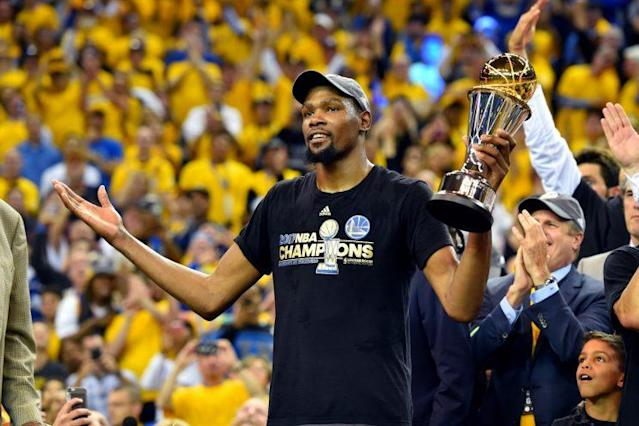Kevin Durant averaged 35.2 points on 55.6 percent shooting and shot 47.4 percent from 3-point range in the Finals. (Getty)