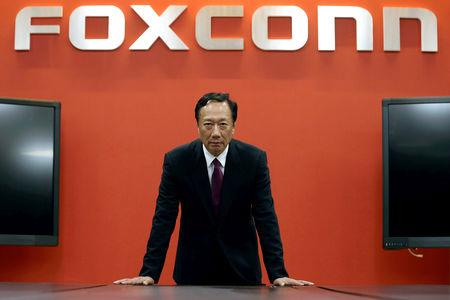 FILE PHOTO: Terry Gou, founder and chairman of Foxconn reacts during an interview with Reuters in New Taipei City, Taiwan