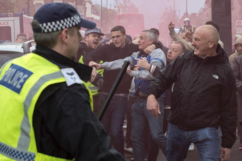 Clashing: Police said six people were arrested (AFP/Getty Images)