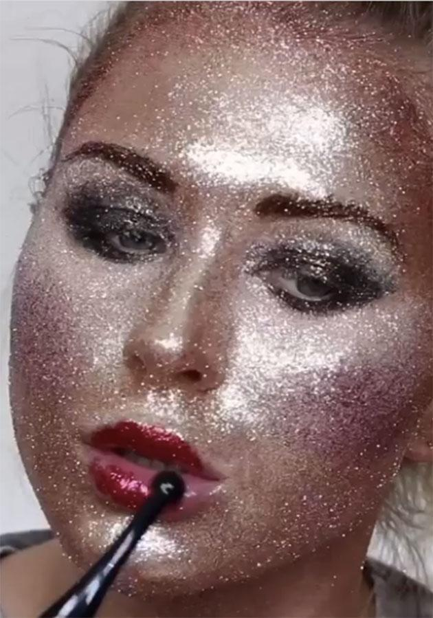 Make-up artist Katie Butt has done a full face of make-up using just glitter. Photo: Instagram.