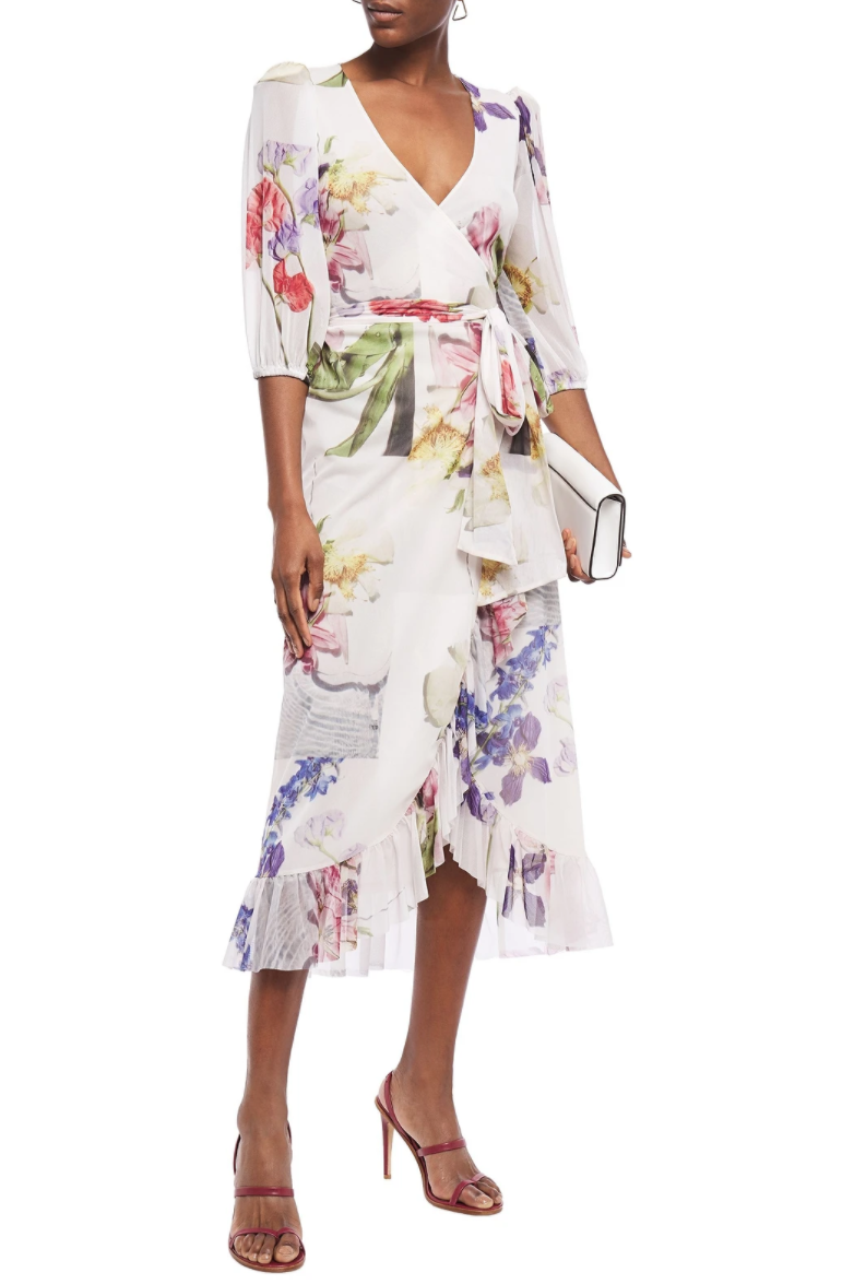 """<br> <br> <strong>Ganni</strong> Ruffled floral-print stretch-mesh midi wrap dress, $, available at <a href=""""https://go.skimresources.com/?id=30283X879131&url="""" rel=""""nofollow noopener"""" target=""""_blank"""" data-ylk=""""slk:The Outnet"""" class=""""link rapid-noclick-resp"""">The Outnet</a>"""