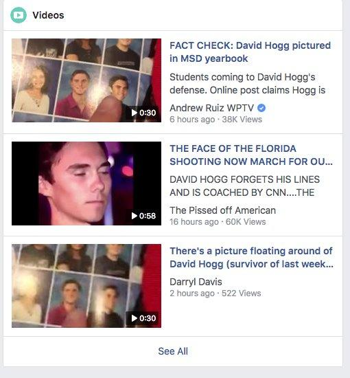 david hogg trending on facebook conspiracy videos