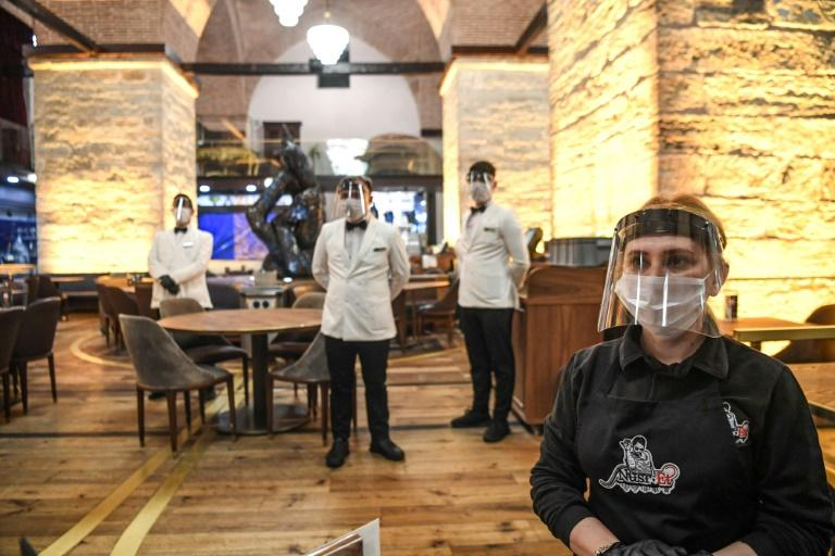 Restaurants were open again in Istanbul, but diners were encouraged to keep apart
