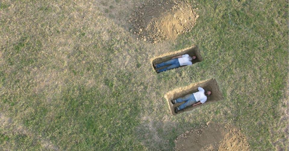 <p>A creepy photocaptured byGoogle Street Viewof twobodies apparently awaiting their burials in shallow graves made the rounds on Reddit recently.(Photo courtesy of Western Exhibitions Website)</p>