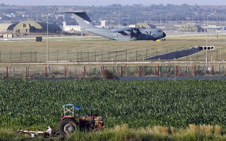 A Turkish Air Force A400M tactical transport aircraft (foreground) is parked at Incirlik airbase in the southern city of Adana, Turkey, July 24, 2015. REUTERS/Murad Sezer