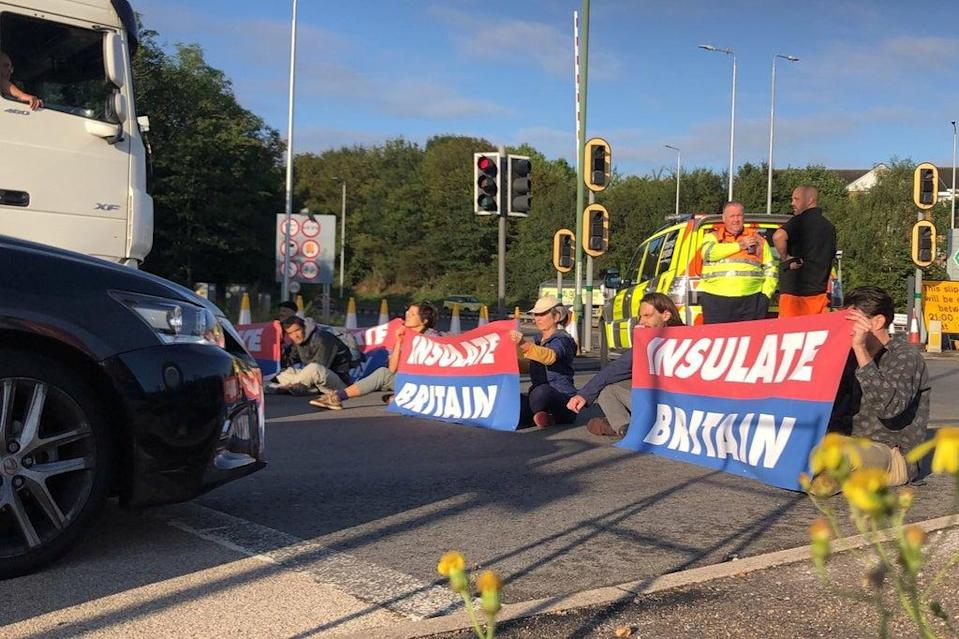 Protest of Insulate Britain on M25 motorway (via REUTERS)