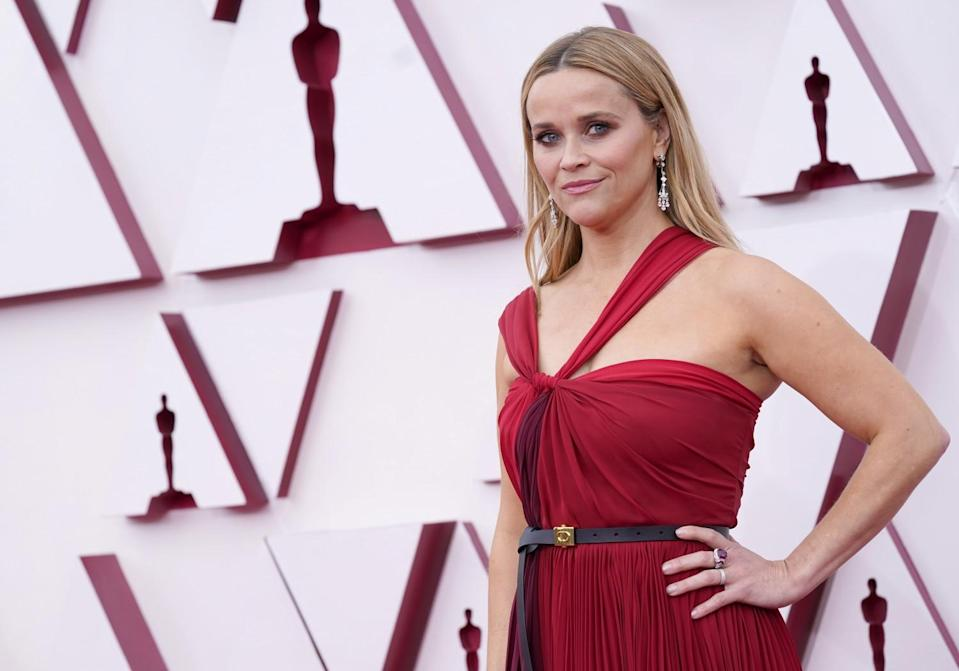 Reese Witherspoon in a Grecian-style dark red gown