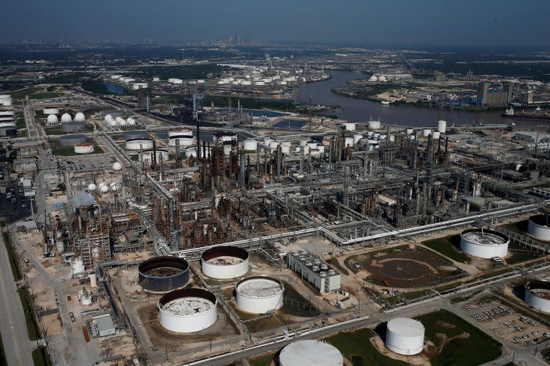 FILE PHOTO: An aerial view of LyondellBasell-Houston Refining is seen in Houston, Texas