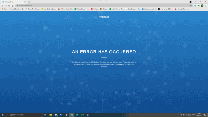 Coinbase website down Wednesday Morning